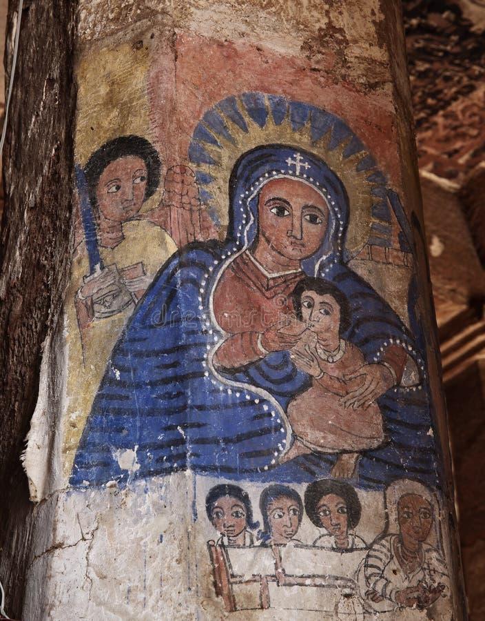 Iconographic platser i Abreha Atsbeha kyrktar i Etiopien royaltyfria bilder