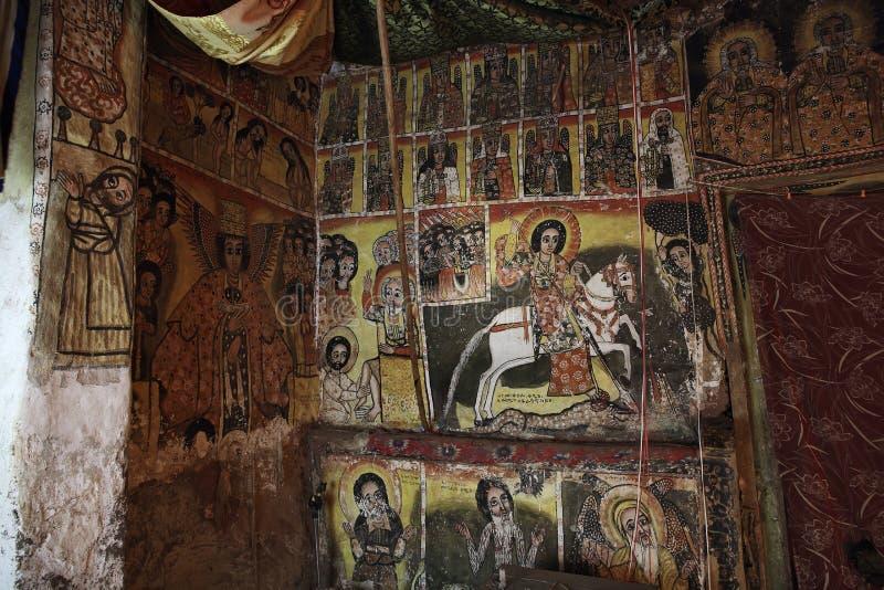 Iconographic platser i den Maryam Papasetti kyrkan i Etiopien arkivfoton