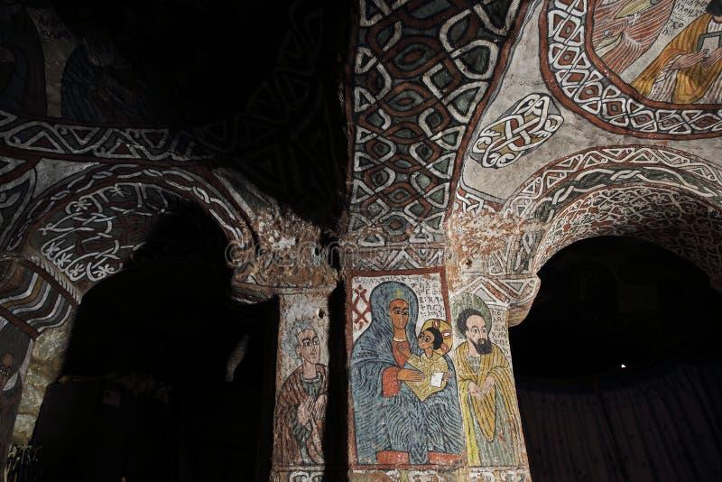 Iconographic scenes in Abuna Yemata church in Ethiopia royalty free stock photo