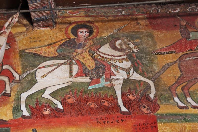 Iconographic scenes in Ethiopian church stock images