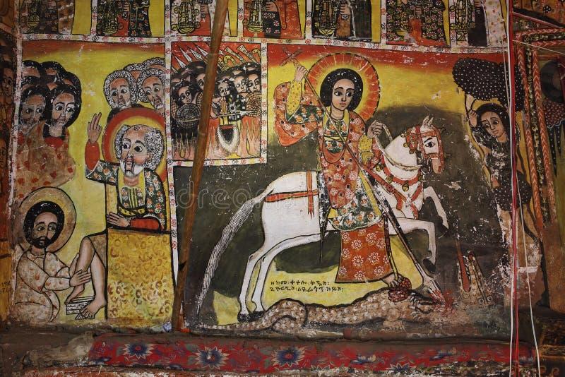 Iconographic scenes in Maryam Papasetti church in Ethiopia stock images