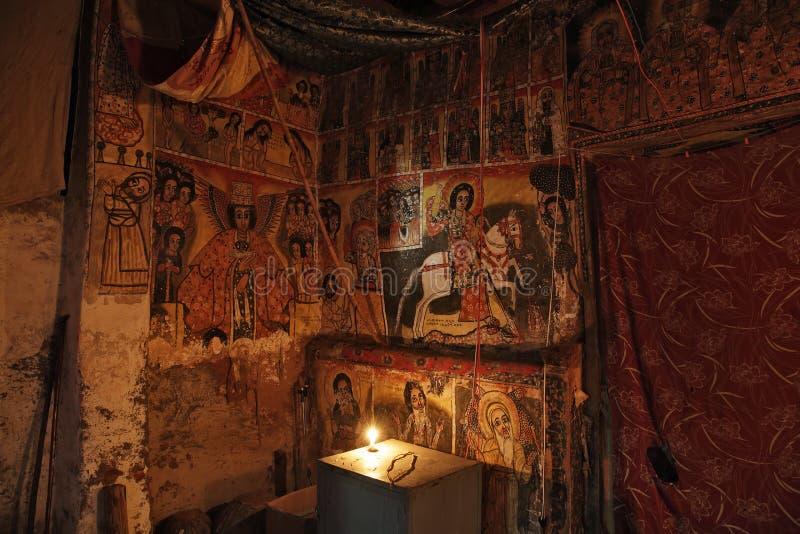 Iconographic scenes in Maryam Papasetti church in Ethiopia royalty free stock image