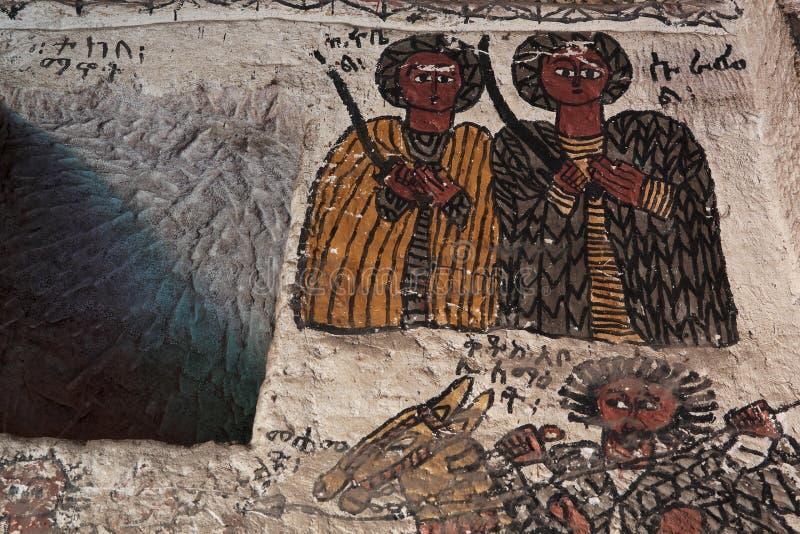Iconographic scenes in Petros we Paulos church in Tigray regio royalty free stock photos