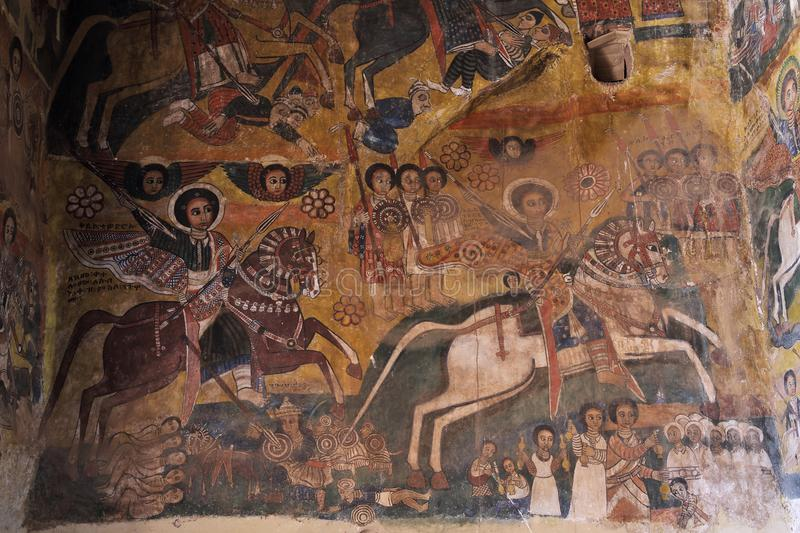 Iconographic scenes in Abreha Atsbeha church in Ethiopia royalty free stock photography