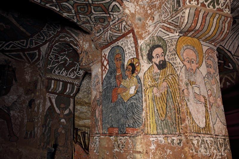 Iconographic scenes in Abuna Yemata church in Ethiopia stock images