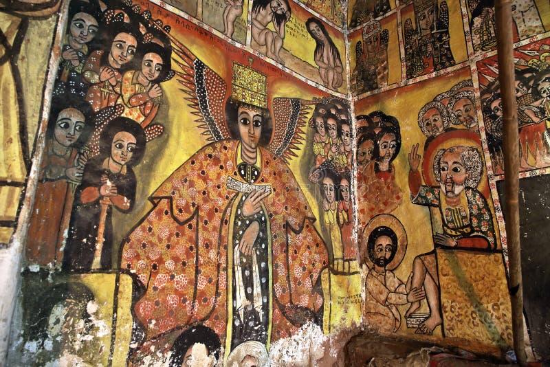 Iconographic scenes in Maryam Papasetti church in Ethiopia royalty free stock photo