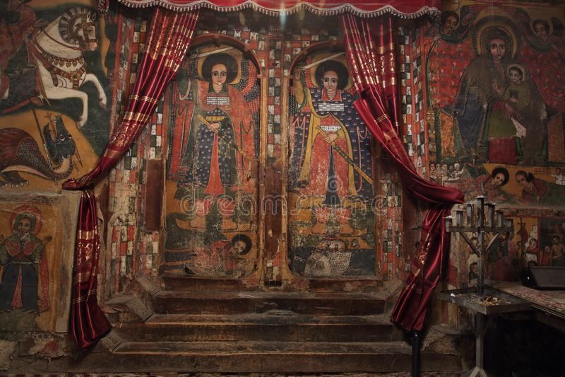 Iconographic scenes in Selassie Chelokot church in Ethiopia stock photos