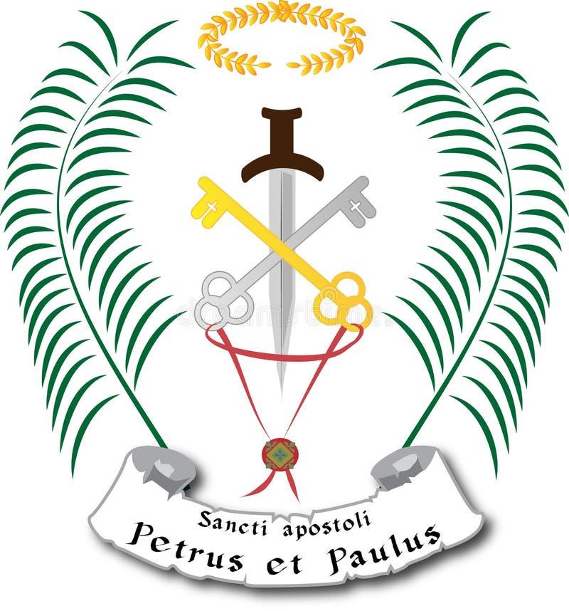 Iconographic symboler för St Peter och St Paul med tangenter och svärdet stock illustrationer