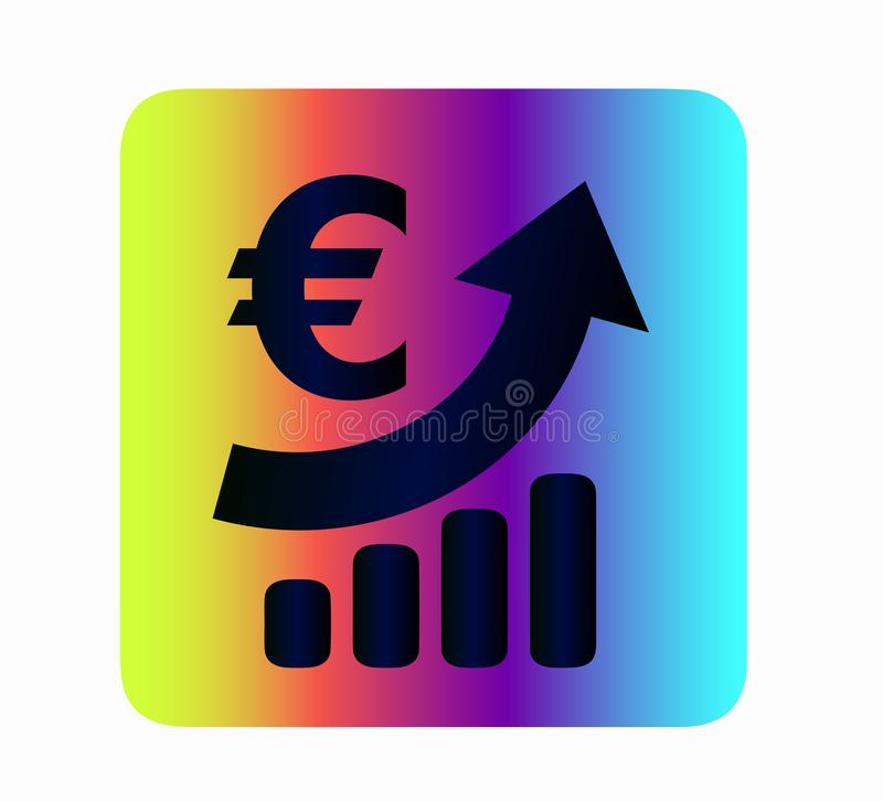 Iconography euro currency growth - neon icon isolated. Bank and finance, currency exchange. Neon vector Euro exchange rate icon - Currency Exchange. Bright stock illustration