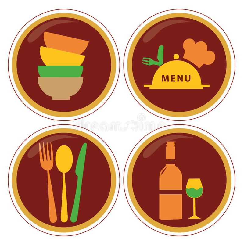 Iconography. Four red icons with colored silhouettes of menu elements vector illustration