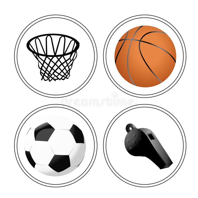 Iconography. Four white icons with some sport related elements vector illustration