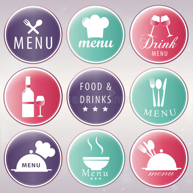 Iconography. Nine colored icons with white silhouettes of menu related elements royalty free illustration