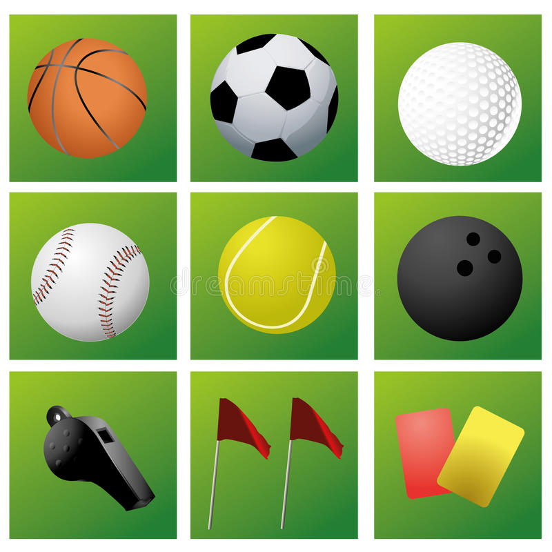 Iconography. Nine green icons with some sport related elements vector illustration