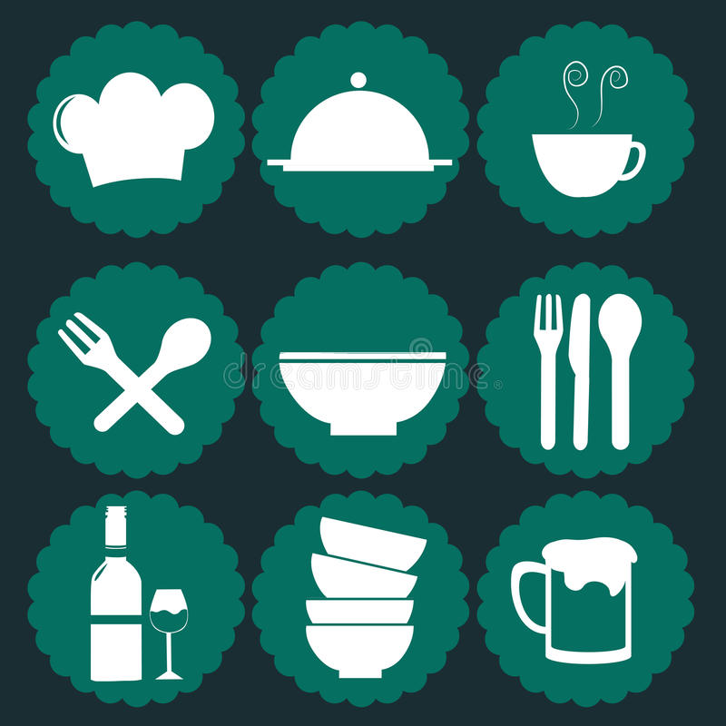 Iconography. Nine green icons with white silhouettes of menu elements vector illustration