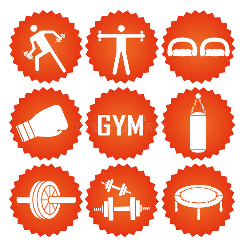 Iconography. Nine orange icons with white silhouettes related to fitness elements royalty free illustration