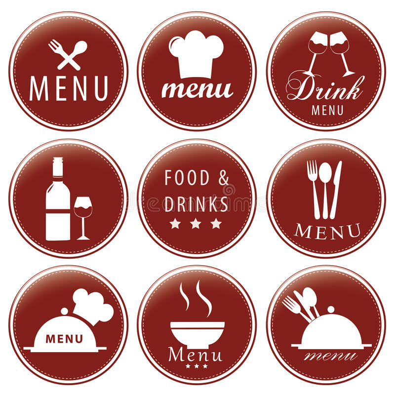 Iconography. Nine red icons with white silhouettes of menu elements royalty free illustration