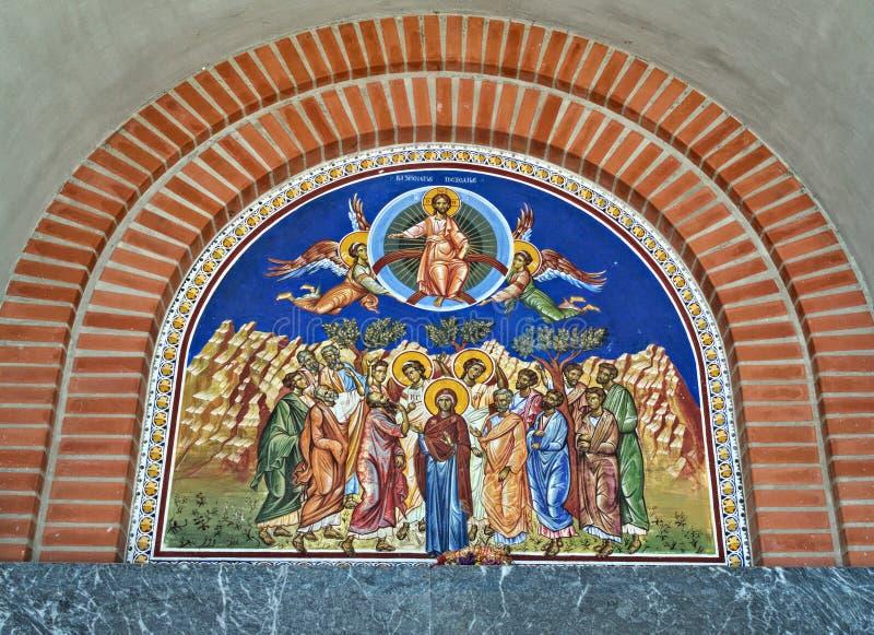 Iconography på ingången till den ortodoxa kyrkan i Novi Sad, Serbien arkivbilder