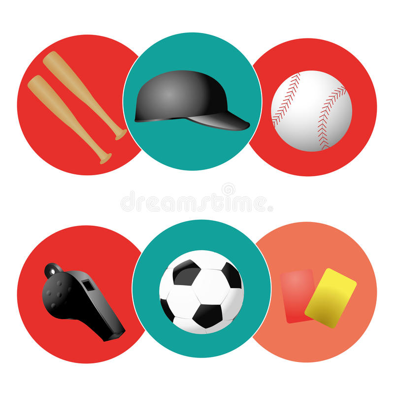 Iconography. Six colored icons with some sport related elements vector illustration