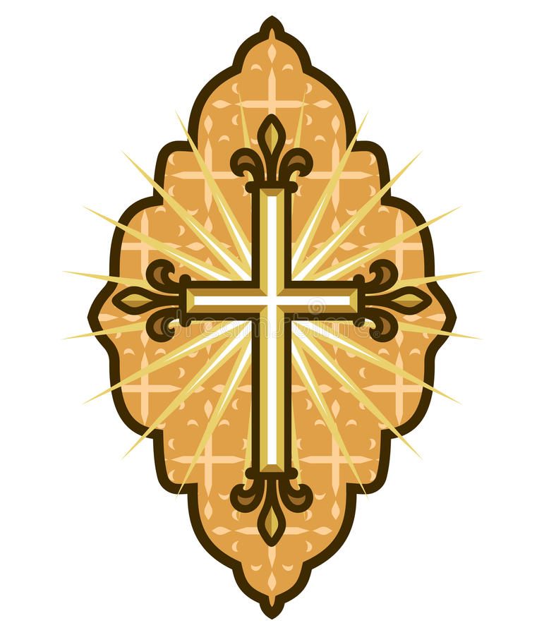 Iconography. Vector illustration of the orthodox motif with the cross stock illustration