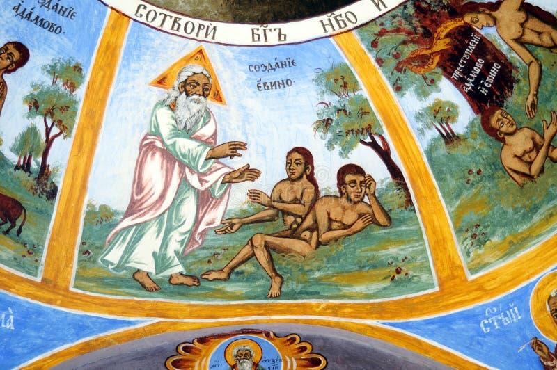 Iconograrhy fresko stock afbeeldingen