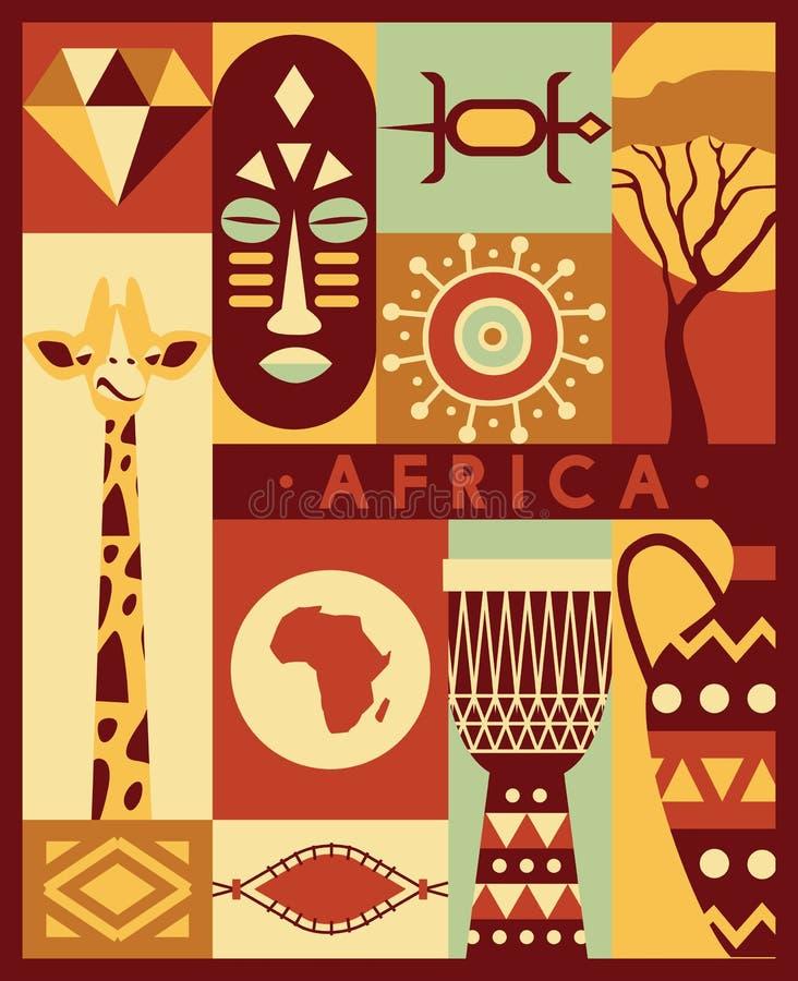 Iconos étnicos del viaje de la cultura de la selva de África fijados ilustración del vector