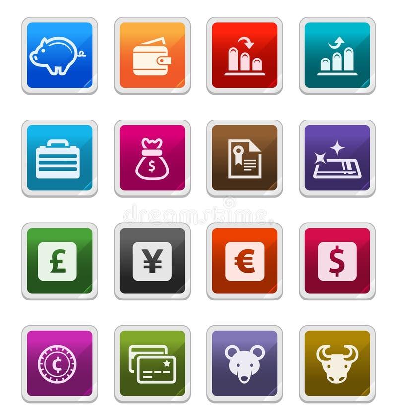 Iconos 1 del asunto y de las finanzas - serie de la etiqueta engomada ilustración del vector