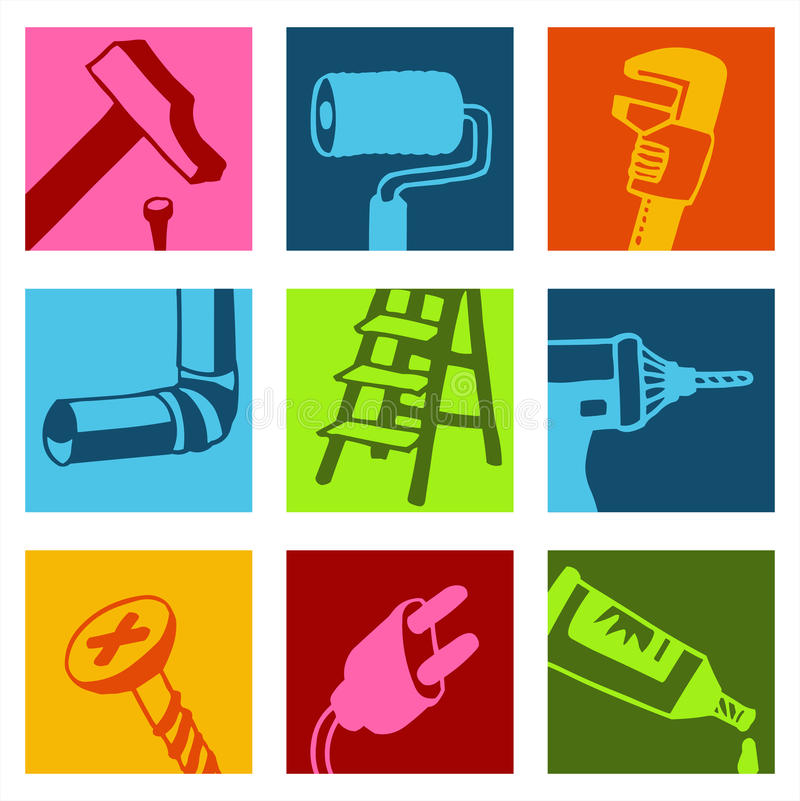 Iconos 1 del color de las herramientas ilustración del vector