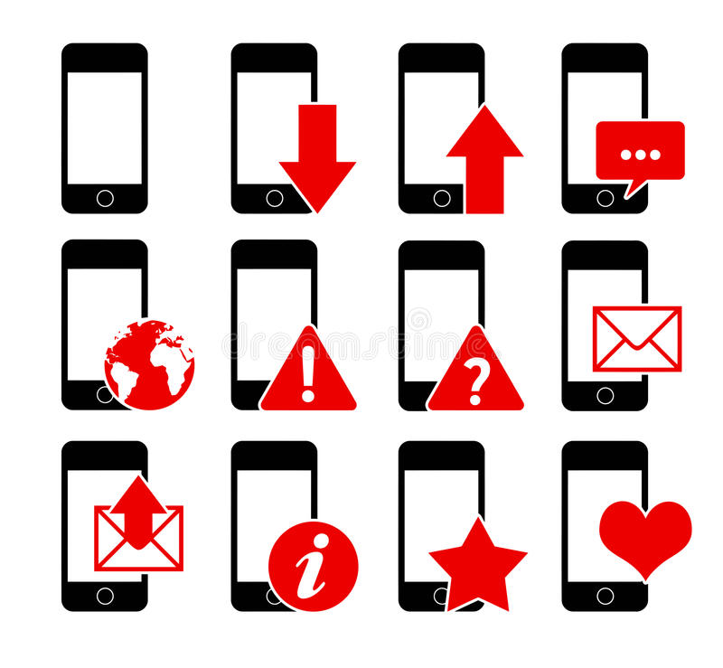 Iconos 1 del teléfono stock de ilustración