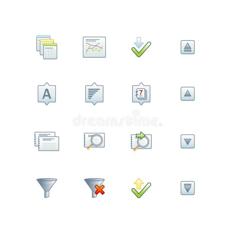 Iconos 2 de la base de datos del proyecto ilustración del vector