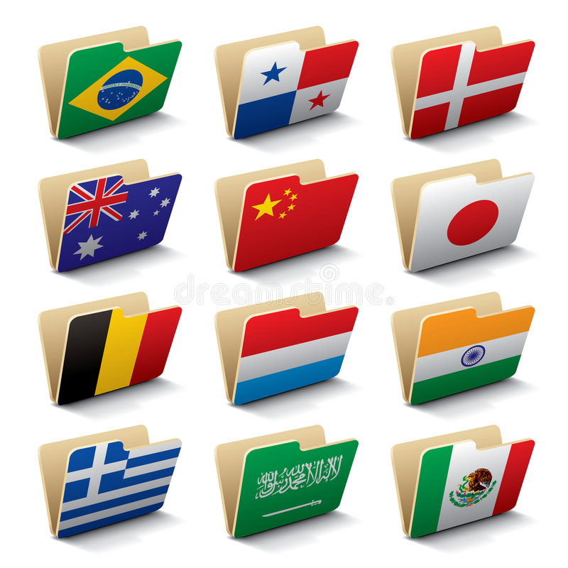 Iconos 2 de las carpetas del mundo ilustración del vector