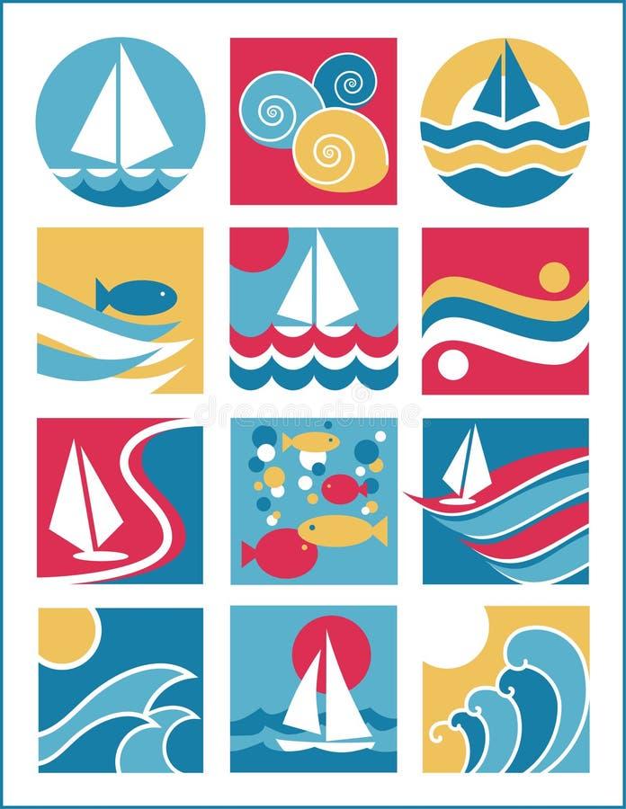 Iconos 2 del agua stock de ilustración