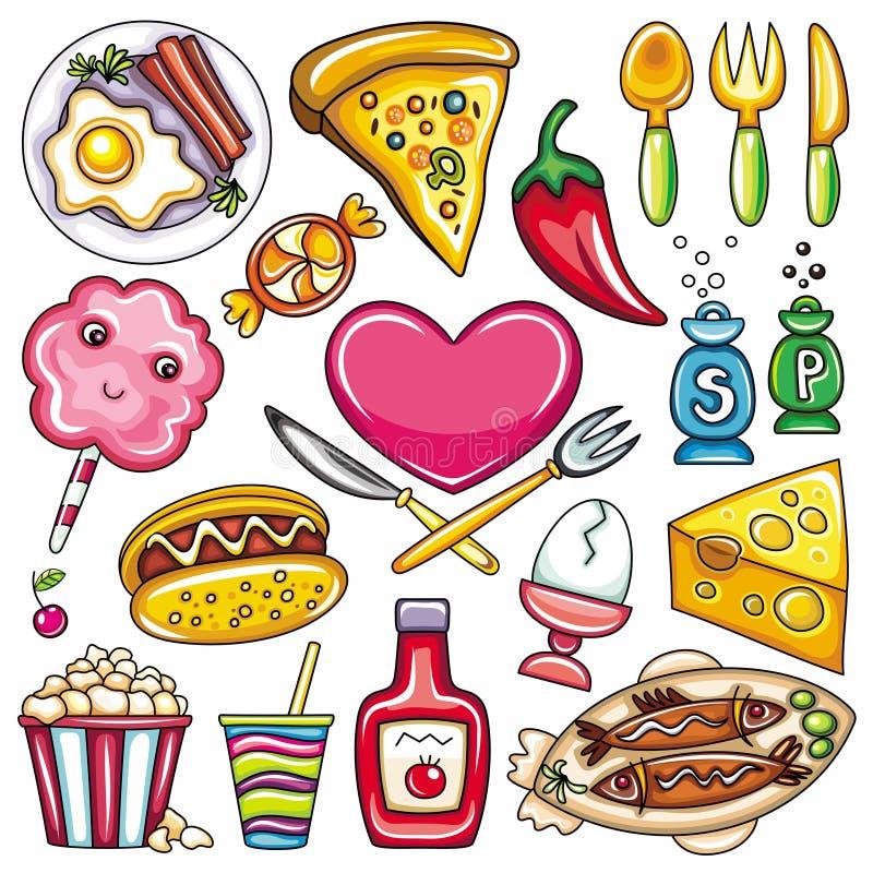 Iconos 2 del alimento ilustración del vector