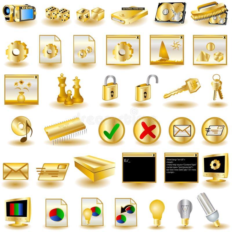 Iconos 3 del interfaz del oro ilustración del vector
