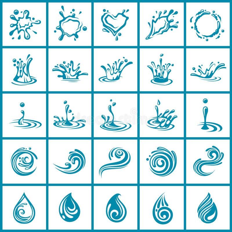 Iconos abstractos del agua fijados libre illustration