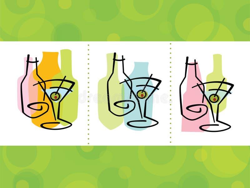 Iconos abstractos del coctel stock de ilustración