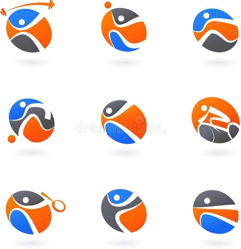 Iconos abstractos del deporte ilustración del vector