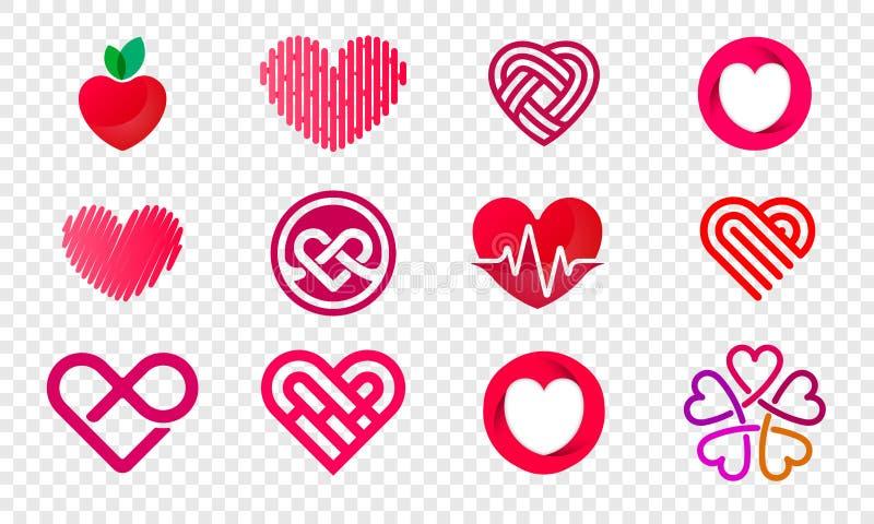 Iconos abstractos fijados logotipos del vector del corazón ilustración del vector