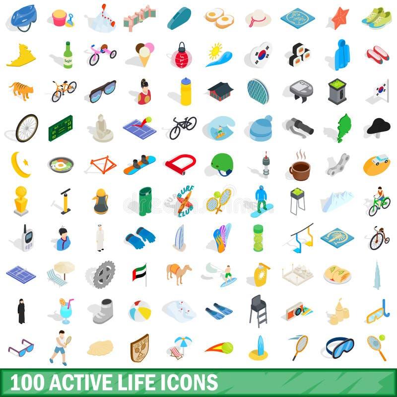 100 iconos activos de la vida fijaron, el estilo isométrico 3d libre illustration