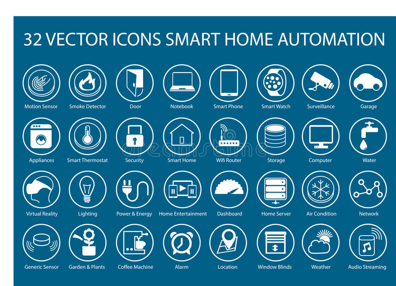 Iconos adaptables para el infographics con respecto a la automatización casera elegante ilustración del vector