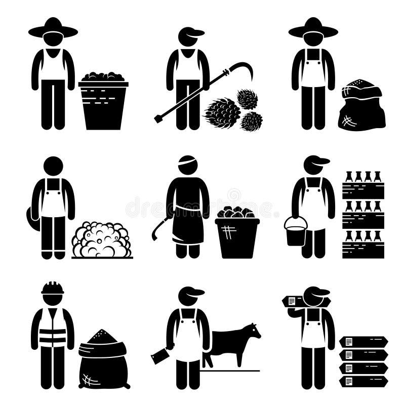 Iconos agrícolas de la carne de los granos de la comida de las materias ilustración del vector