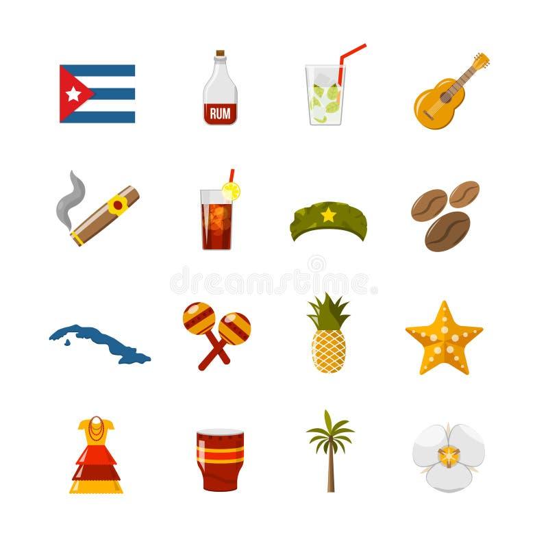 Iconos aislados color plano de Cuba stock de ilustración