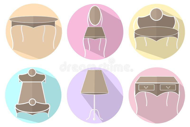 Iconos aislados de los muebles del vintage stock de ilustración
