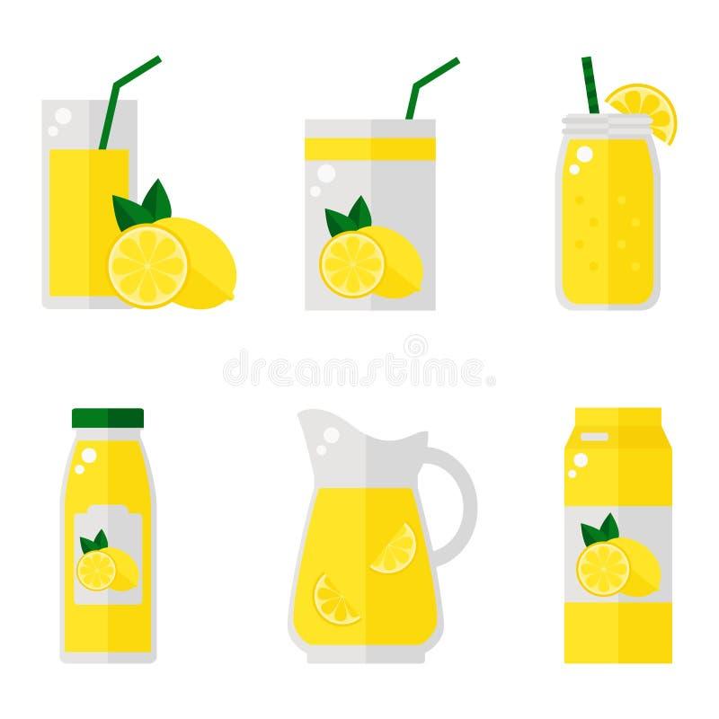 Iconos aislados del jugo de limón en el fondo blanco libre illustration