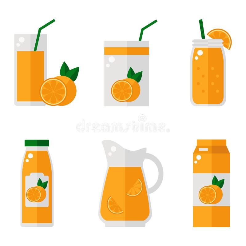 Iconos aislados del zumo de naranja en el fondo blanco libre illustration
