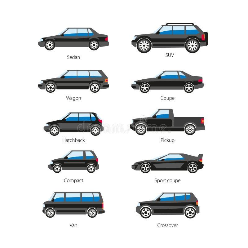 Iconos aislados plano del vector de los nombres de tipo del cuerpo del coche o del automóvil fijados stock de ilustración