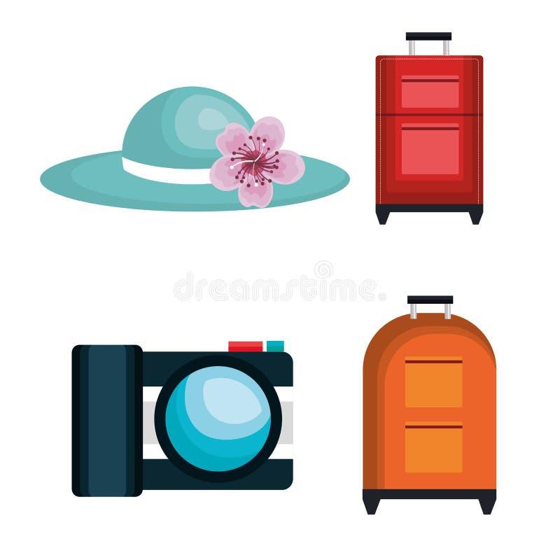 Iconos aislados sistema del viaje del verano libre illustration