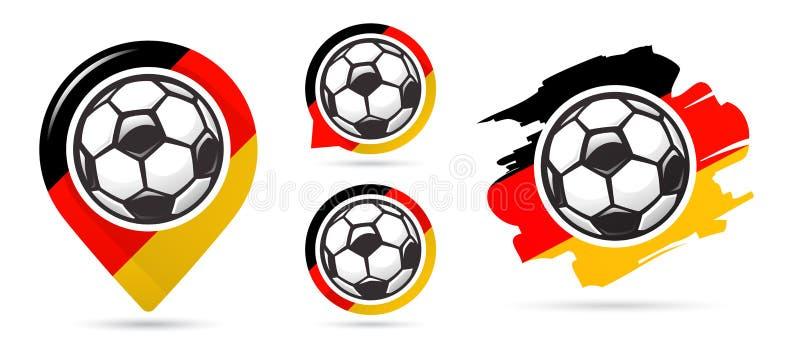 Iconos alemanes del vector del fútbol Meta del fútbol Sistema de iconos del fútbol Indicador del mapa del fútbol Requisito del ba libre illustration