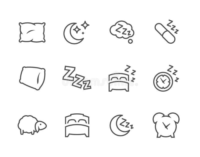 Iconos alineados del pozo del sueño stock de ilustración