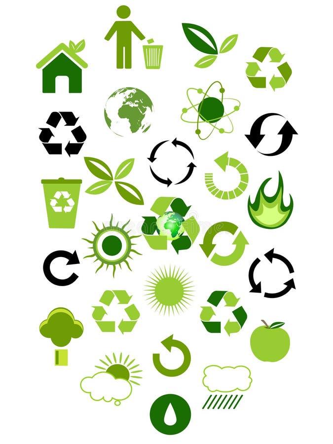Iconos ambientales stock de ilustración