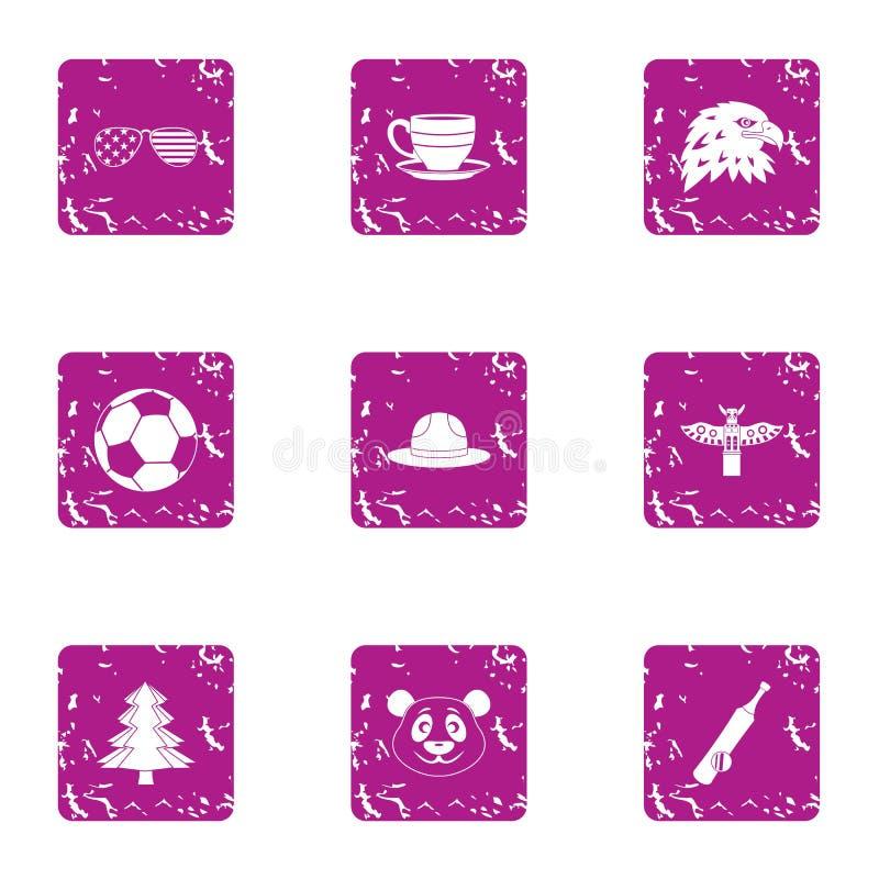 Iconos americanos fijados, estilo de las extensiones del grunge ilustración del vector